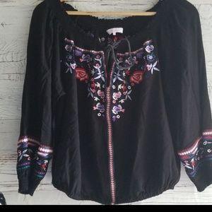 Parker off shoulder embroidered blouse
